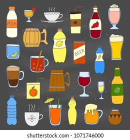Set of different doodle colorful liquid drinks isolated on chalkboard background.