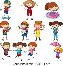 Set of different doodle kids cartoon character isolated illustration