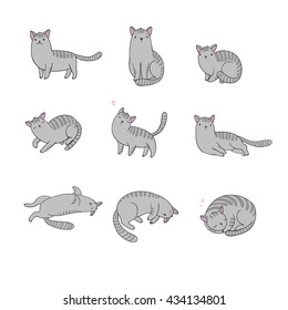 Set of different doodle poses gray cat. Pets. Hand drawing isolated objects on white background. Vector illustration.