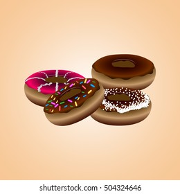 Set of different doughnuts, Fast food vector illustration