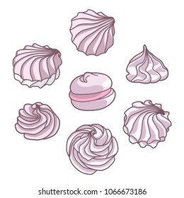 Set of different drawn cartoon meringues zephyrs pastries cupcakes snacks cream. Dessert. Sweets and candies.  Vector illustration.