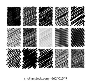 Set of different drawn scribble rectangle grunge effect. For covers, flyers, cards decoration. Vector illustration.