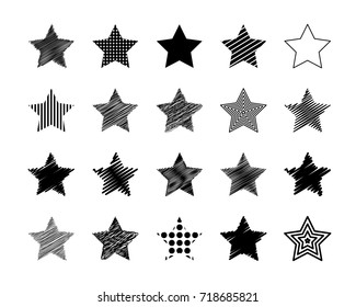 Set of different drawn scribble stars grunge effect. For covers, flyers, cards,  decoration. Vector illustration.