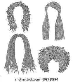 set of  different dreadlocks cornrows  round curly hairs .  fashion beauty african style . fringe  pencil drawing sketch .
