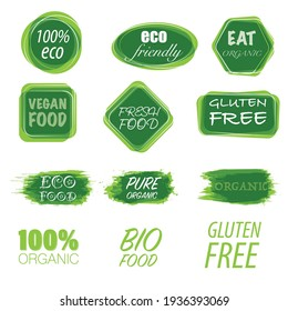Set of different ecological green labels with friendly text isolated on white background
