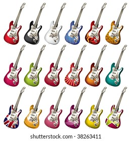 A set of different electric guitars. Vector illustration.