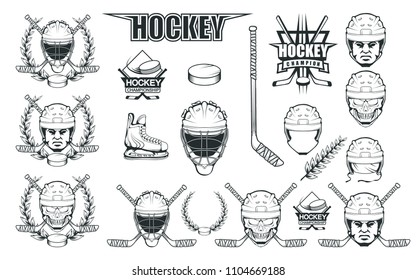 Set of different elements for hockey playing. Hockey helmet. Professional ice skates illustration. Skull with hockey helmet. Ice Games logo. Goalkeeper mask with sticks. Vector graphics to design.