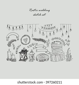 Set of different elements for a wedding, party or other event in the rustic style. The sketch, drawn by hand.