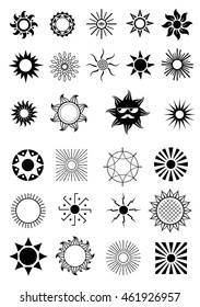 Set of different emblems of signs and symbols in the form of a circular or sun ornament