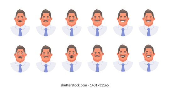 Set of different emotions of a character businessman or office clerk. Emoji mustache man facial expressions. Vector illustration in cartoon style