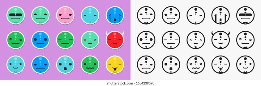 Set of different emotions cute character. Emoji faces emoticon smile, chat messenger cartoon emotes.Vector illustration in cartoon style. Color and stroke versions. 15 emoticons faces.