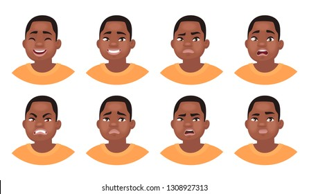 Set of different emotions male character. African American man emoji with various facial expressions. Vector illustration in cartoon style