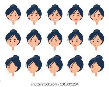 Set of different emotions on cute female face vector illustration with cheerful angry kissing and surprised portraits in various angles white backdrop