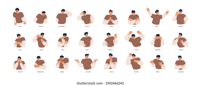 Set of different emotions of people. Man expressing his positive and negative feelings with gestures and facial expressions. Angry, worried, happy and surprised guy. Colored flat vector illustration - Shutterstock ID 1902466243