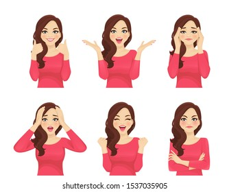 Set of different emotions young beautiful woman. Facial expression with various gestures isolated vector illustration