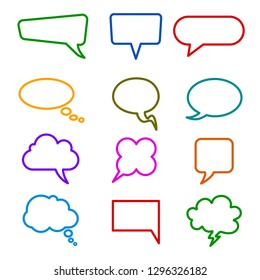 Set different empty speech bubble, chat sign - stock vector