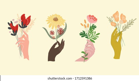 A set of different ethnic group of female hands holding bouquets or bunches of blooming flowers. Bundle of floral decorative design elements isolated on yellow background.