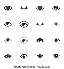 Set of different eyes icons.