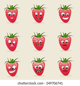 Set of different facial expressions with funny strawberry characters on beige background.