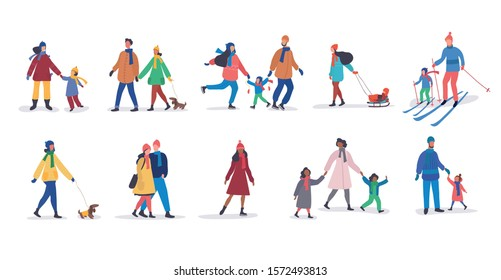 Set of different families walking together in winter with dogs, skiing, sledding or tobogganing, some with children and arm in arm romantic couples, colorful vector illustration over white