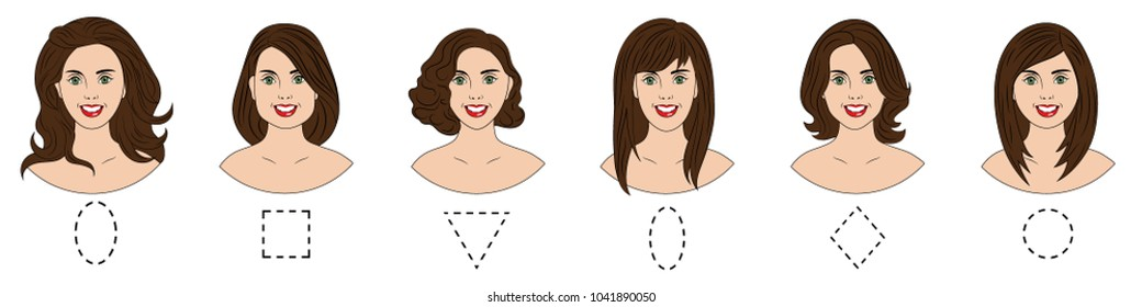Set of different female face shapes with different hairstyle. There are oval, square, round, long, diamond and triangle. Vector illustration.