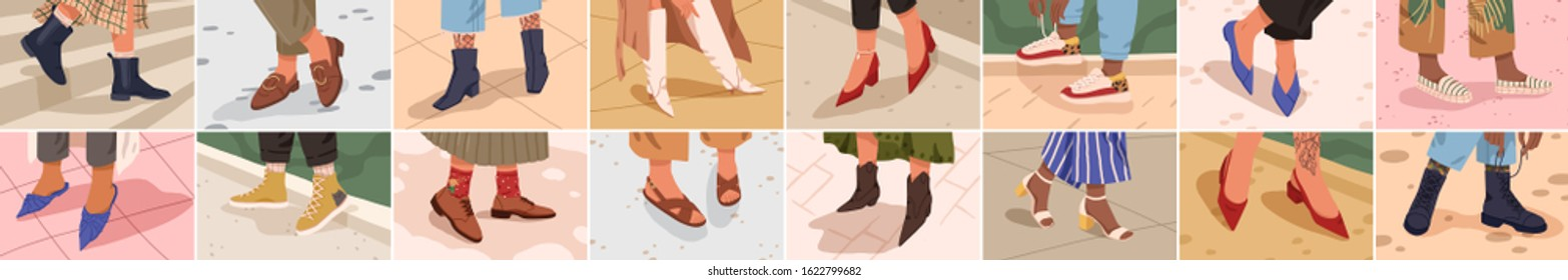 Set of different female legs wearing trendy shoes and boots colored vector flat illustration. Cartoon fashionable woman in classy footwear collection. Modern stylish foot accessory.