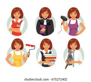 Set of different female occupations. Seller judge, hairdresser, painter, veterinarian, teacher. Vector illustration