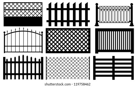set of different fence styles