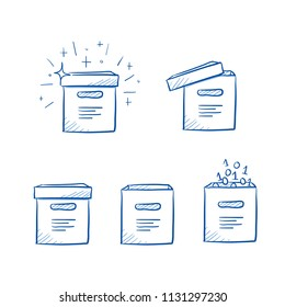 Set of different file boxes, open, closed, with digits, and sparkles. Icons for digital and analog file archives or client's data. Hand drawn line art cartoon vector illustration