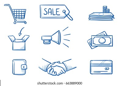 Set with different finannce and shopping icons, as money, credit card, shaking hands, purse, box, shopping cart, megaphone and hang tag. Hand drawn line art cartoon vector illustration.