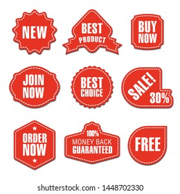 set of different flat advertising and promotion badges, stickers and banners