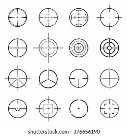 Set of different flat Crosshair sign icons solated on white background. Vector Illustration
