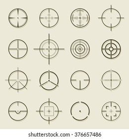 Set of different flat Crosshair sign icons. Vector Illustration