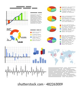Set of different flat graphics and diagrams, infographic elements isolated on white