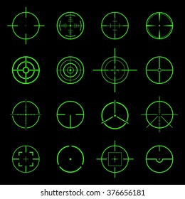 Set of different flat green Crosshair sign icons solated on black background. Vector Illustration