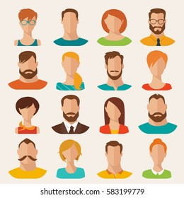 Set of different flat vector characters. Flat style vector avatars. Male and female vector portraits.