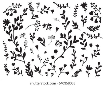 Set with different floral elements for paper or laser cutting or