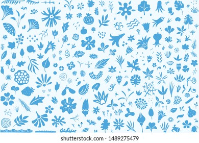 Set of different floral elements and shapes, modern flat doodle style decorative background or pattern