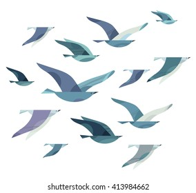Set of different flying birds in style of minimalism. Vector illustration