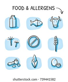 Set of different food allergy declaration and meat free icons, for packaging on blue tiles. Hand drawn cartoon sketch vector illustration, marker style coloring.