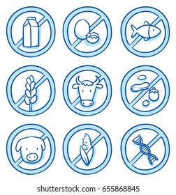 Set of different food allergy icons and gene free icon, for packaging. Hand drawn line art cartoon vector illustration with plain blue shading.