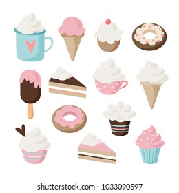 Set of different food and drink icons. Isolated retro illustrations of cakes, doughnuts,  ice cream, sundae, coffee, cupcakes and muffins.