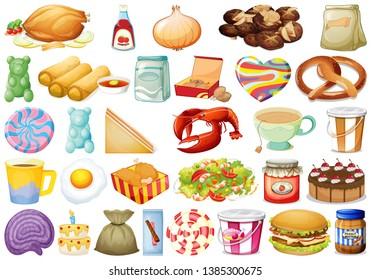 set of different foods illustration