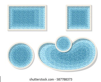 Set different forms swimming pools. Rectangular, square and a circular pool. Top view. Detailed vector illustration.