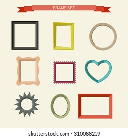 Set of different frames in flat style. Vector illustration