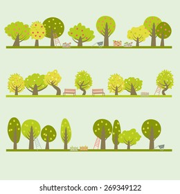 Set of different fruit trees. Vector illustration