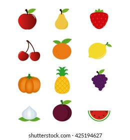 Set of different fruits on a white background