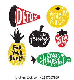 Set of different fruits and vegetable including pineapple, apple, watermelon, orange and cucumber. Hand drawn elements with lettering inside. Healthy lifestyle concept.