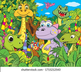 Set of different funny dinosaurs in the jungle.