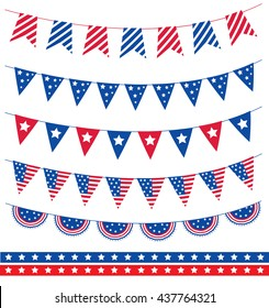 Set of different garland with flag ribbons. American Independence Day 4th of July. Vector illustration